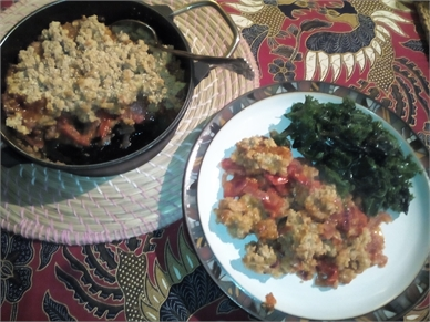 Tomato Cobbler and Steamed Kale